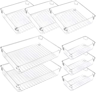 Mebbay Desk Drawer Organizer Trays Clear Plastic Vanity Storage Drawer 3 Size 8 Piece for Bedroom Office Kitchen