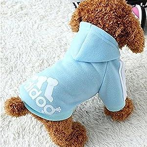 Techrace Adidog Dogs Warm Hoodies Coat Clothes Pullover Pet Puppy T-Shirt, Sporty Design Warm Hooded Coat Coat Clothes for Small/Medium Dog Puppy - Noir / Bleu / Gris / Rose / Rouge / Jaune, XS / S / M / L / XL