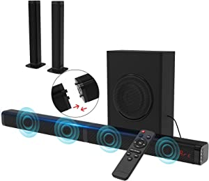 2.1 CH Sound Bar for TV with Subwoofer 120W 3D TV Speaker Surround Sound Home Theater Audio System DSP, HDMI ARC, Bluetooth, USB, Opt, COA, AUX and RCA Connection, 2 in 1 Detachable Design, 10 EQ