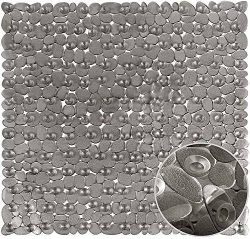 AngLink Duschmatte, Duschmatten Dusche rutschfest, Duscheinlage, Antirutschmatte Dusche mit Saugnäpfen, Maschinenwaschbar rutschfeste Badematte 53 X 53cm (Grau)