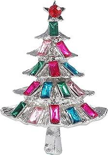 Multi-Colored Rhinestone Christmas Tree Brooch Pin Woman Festive Corsage Xmas Jewelry Gift