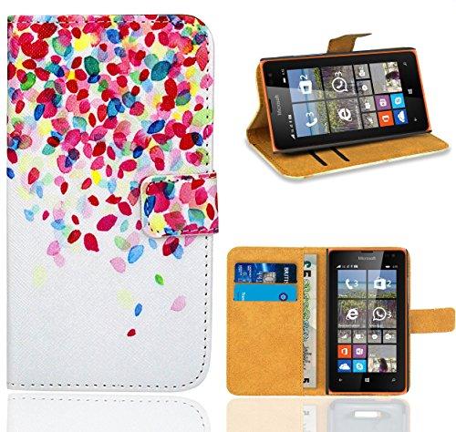 FoneExpert® Microsoft Lumia 435 Handy Tasche, Wallet Hülle Flip Cover Hüllen Etui Ledertasche Lederhülle Premium Schutzhülle für Microsoft Lumia 435