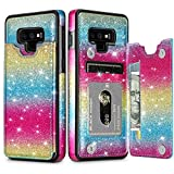 HianDier Wallet Case for Galaxy Note 9, Slim Protective Case with Credit Card Slot Holder Flip Folio Soft PU Leather Magnetic Closure Cover Case Compatible with Samsung Galaxy Note 9, Rainbow