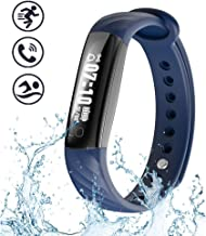 BISOZER Fitness Tracker Waterproof, Slim Activity Tracker Fitness Watch IP67 Waterproof Smart Bracelet Pedometer Bluetooth Wristband with Replacement Band for Android and iOS Smartphone