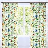 """Bedlam - Jungle - Childrens Lined Pencil Pleat Curtains - 66"""" Width x 72"""" Drop (168 x 183cm), Multicolour"""