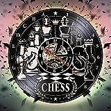 YHZSML Juego de ajedrez Reloj de Pared con Registro de Vinilo Tablero de ajedrez Reloj de Pared Antiguo Reloj Club de ajedrez Colgante de Pared Decoración de Arte Cartel Regalo de Amantes de ajedrez