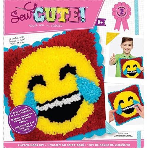 Amazon.com: Colorbok Sew Cute Emoji Laugh Tears Latch Hook ...