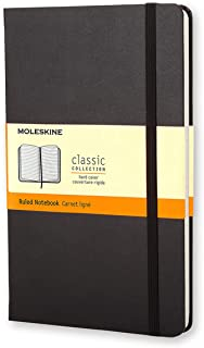Moleskine S01127 Classic Hard Cover Notebook- Ruled- Large- Black, (QP060)