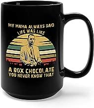 My Mama Always Said Life Was Like A Box Chocolate Vintage Ceramic Coffee Mug Tea Cup (15oz, Black)