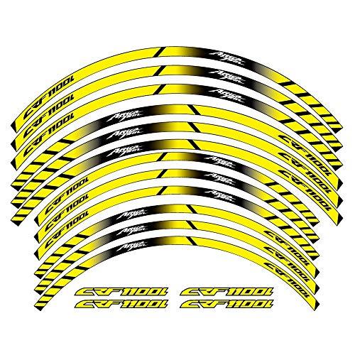 12 PCS Ruedas de motocicleta Pegatinas Stripe Moto Protección reflectante RIM Llaminadores de llantas para Honda CRF1100L TWIN CRF 1100L (Color : 1)
