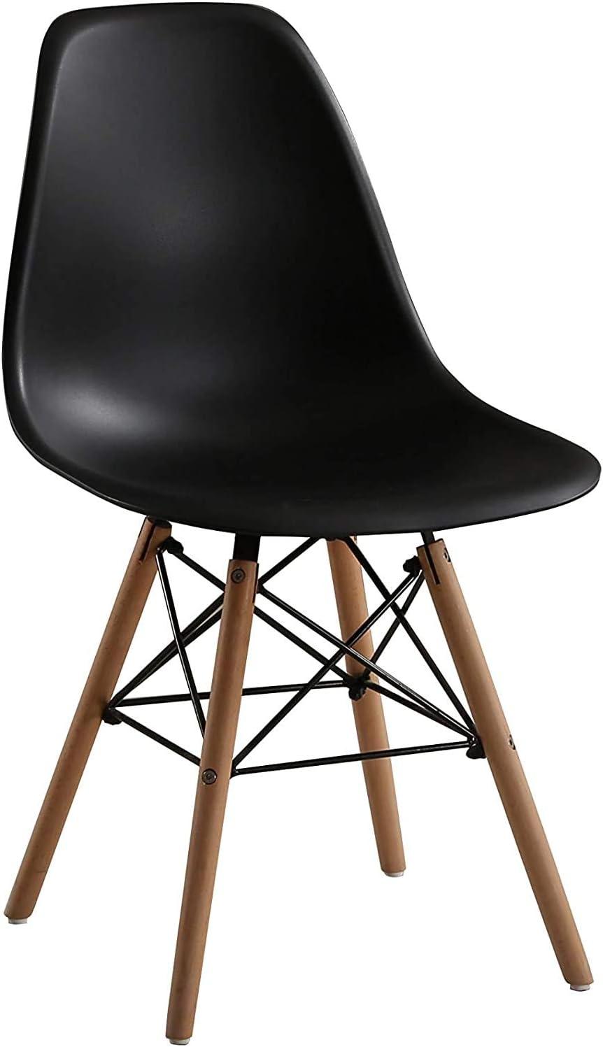 Lot de 4 Chaises de Salle à Manger avec Pieds en Bois, Style scandinave, Chaise pour Restaurant/Bureau/Bar (Blanc) Noir