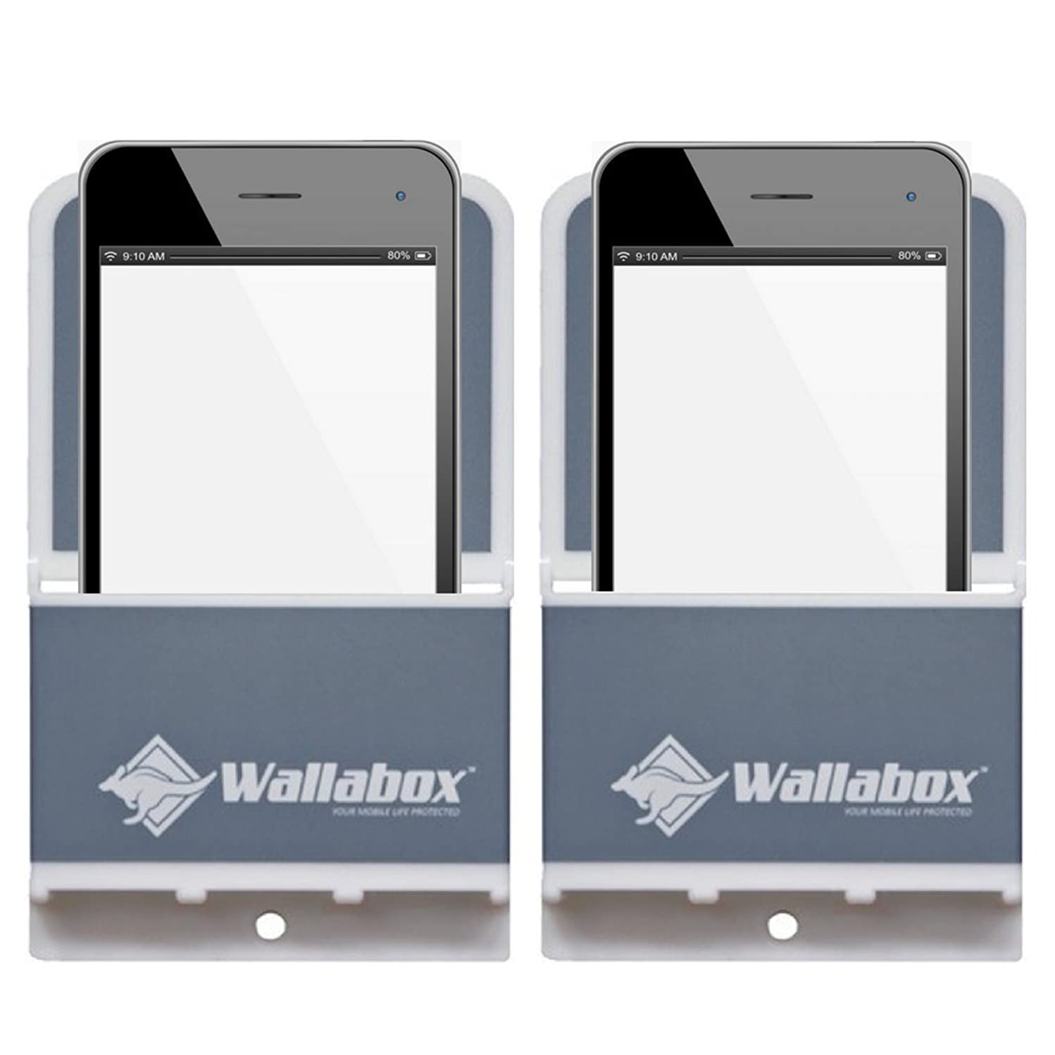 Wallabox 2-Pack (Steel Gray) - Universal Cell Phone Holders, Wall Mount – Fits All iPhone & Android Phones. Great for Bedroom, Bathroom, Office, Car, Charging Station. 3M Removable Non-Damaging Strips