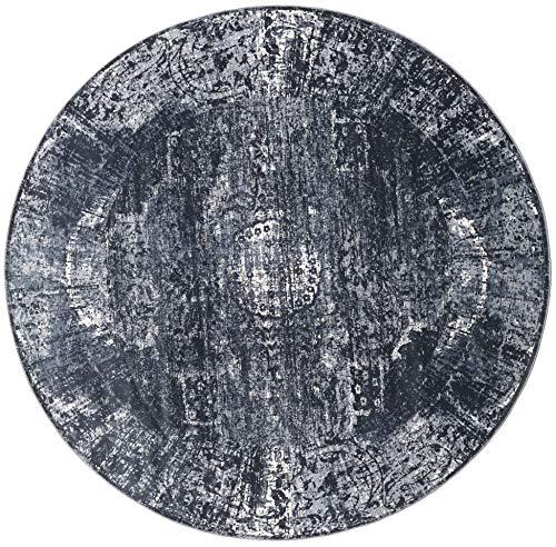 RugVista Tapis Mistral - Gris foncé Ø 200 Tapis D'orient, Rond