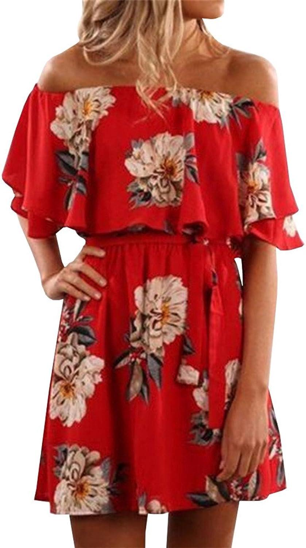 Pxmoda Women's Off Shoulder Floral Print Beach Dress Ruffle Mini Dress