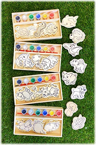 Deluxe Paint-Your-Own Wooden Shapes Sets Featuring Dinosaurs  Vegetables  Sea Animals & Farm Animals Gift Set Bundle (Each Set Contains 12 Wood Pieces to Paint  6 Paint Colors & Paint Brush) - 4 Pack