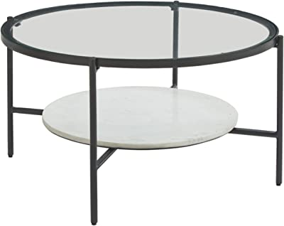 Signature Design by Ashley - Zalany Round Cocktail Table w/ Fixed Shelf, Black/White Marble