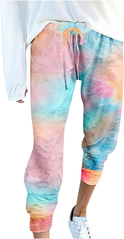 onlyliua Womens Casual Sweatpants Autumn Cropped Tie-Dye Print D
