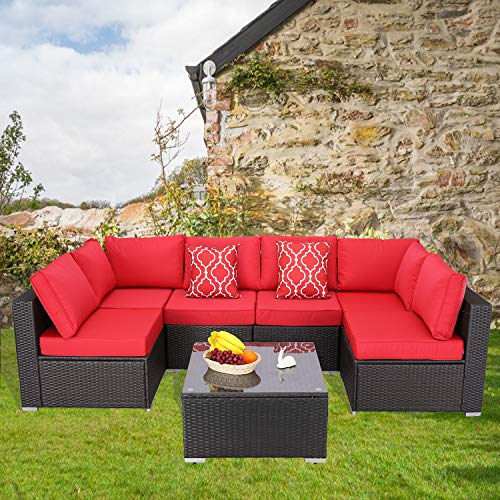 Furnimy 7 Pieces Patio Furniture Sets Outdoor Furniture Sectional Sofa Patio Conversation...