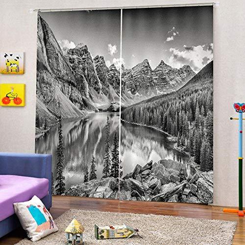 Cortinas Blackout Ventanas Opacas Termicas Aislantes para salón, Cocina habitación y Dormitorio,Río de Alta montaña 150x166 cm (Ancho x Alto)
