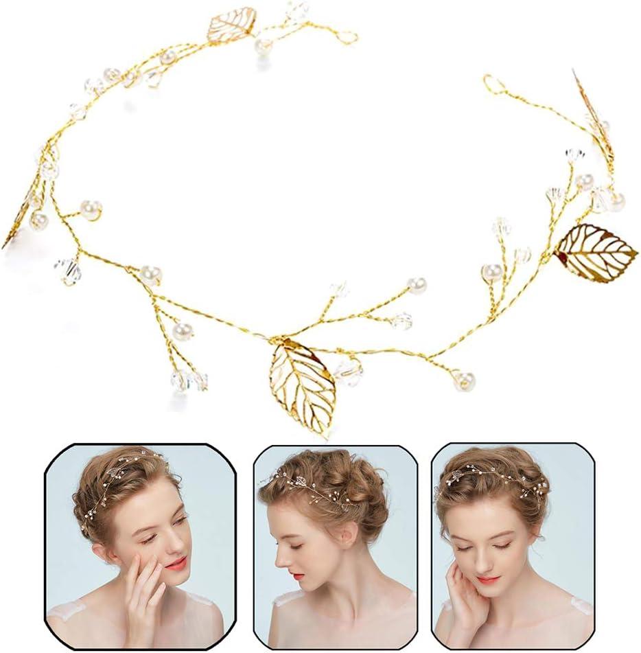 Xinlie Wedding Crystal Hair Vines Flor Hoja Tocados Accesorios para el cabello para la novia Juego de Horquillas de Pelo Pinza de Pelo de Hoja de Boda y Clip de Pelo de Diamantes Perlas Joyería