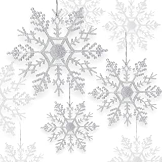 BANBERRY DESIGNS Snowflake Christmas Ornaments - Set of 84 Assorted Sized Snowflakes - Iridescent Colored Snow Flake Ornament with Glitter Accents - Winter Wonderland Decorations