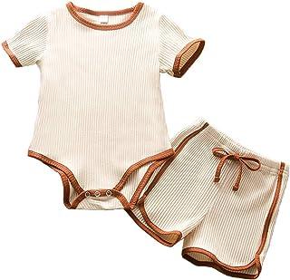 2PC Newborn Baby Girls Clothes Set Plain Rib Stitch Short Sleeve Top + Shorts Outfits 0-24 Months
