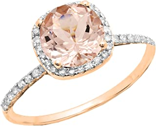 6 MM Round Morganite and White Diamond Halo Bridal Engagement Ring, 10K Gold