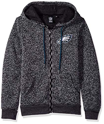 Ultra Game NFL Philadelphia Eagles Womens Full Zip Fleece Hoodie Letterman Varsity Jacket Sweatshirt Marl Knit Jacket, Team Color, X-Large