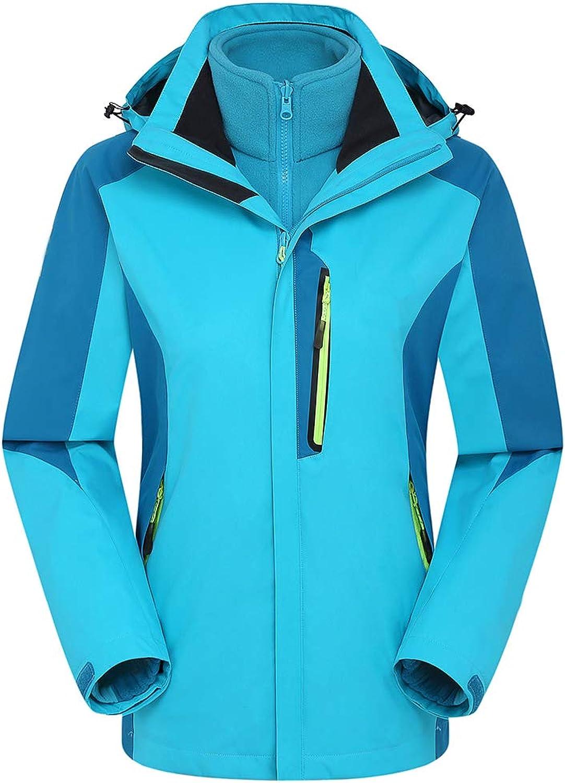 Insun Women's Outdoor Travel Waterproof Coral Fleece 3in1 Hooded Jacket Raincoat
