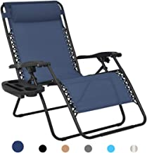 Patio Watcher Oversized Zero Gravity Chair Folding Recliner Chair with Cup Holder Accessory Tray and Removable Pillow for ...