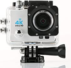 YJXUSHYQ Action Camera 4k HD Anti-Shake Waterproof Camera with Night Vision Q3H Outdoor Sports Camera LED Fill Light Max30 M Diving (Color : White)