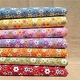 Egurs 7 Farben Sonnenblume Muster Baumwollstoff Retro