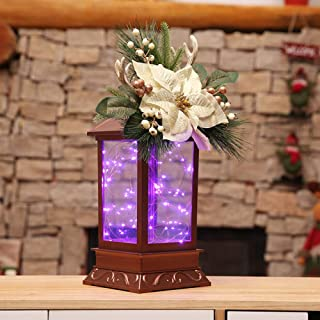Christmas Tabletop Battery Powered LED Flower Lantern Lamp Light Decorations Xmas Desktop Ornaments Festival Party Supplies Thanksgiving Day Birthday Present to Kids Holiday Home Décor