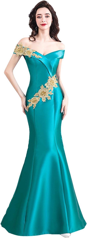 Epinkbridal Women's V Neck Off Shoulder Mermaid Evening Dress Applique Beaded Long Formal Gowns