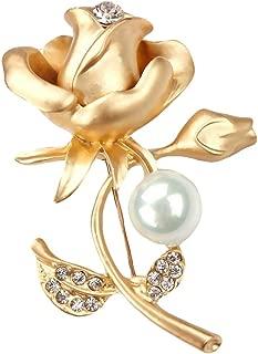 Hosaire Brosche Mode Strass Rose Blütenform Perle Broschen für Hochzeits Party Schmuck Zubehör