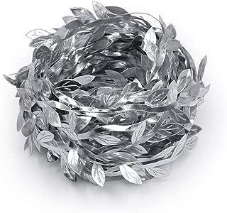 Lowki Olive Leaves Leaf Trim Ribbon for DIY Craft and Decoration 33ft (Silver)