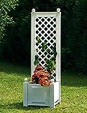 Jardinera con celosía, 43 cm, color blanco