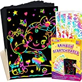 pigipigi Scratch Paper Art for Kids - 50 Sheets Rainbow Magic Scratch Off Art Crafts Set Supply Drawing Note Board Kit for Girls Boys Toddler DIY Party Favor Activity Game Birthday Christmas Toy Gift