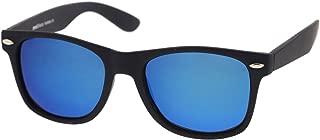 Matte Finish Reflective Color Mirror Lens Large Square Horn Rimmed Sunglasses 55mm