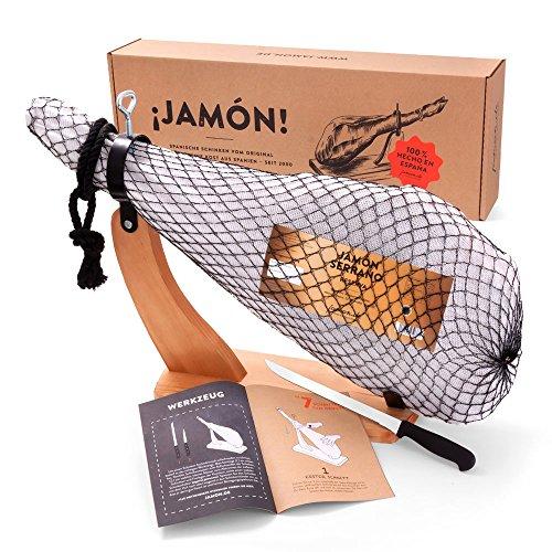 Jamon-Box Nr. 2 - Serrano-Schinken 6,5kg im Geschenk-Set mit Zubehör - 12 Monate gereifter...