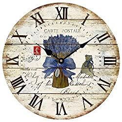 Wood Wall Clock 12Vintage French Country Print Lavender in Tin Romantic Shabby Chic Large Decorative Roman Numerals Analog Battery Operated Silent for Home Decoration (Lavender Blue)