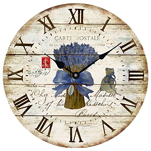 Wood Wall Clock 12'Vintage French Country Print Lavender in Tin Romantic Shabby Chic Large Decorative Roman Numerals Analog Battery Operated Silent for Home Decoration (Lavender Blue)