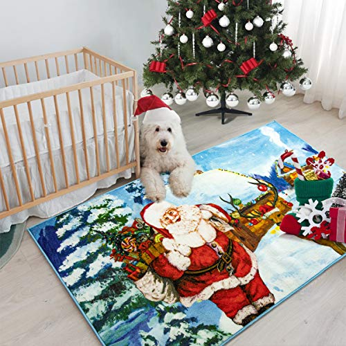 Christmas Area Rugs for Kid's Bedroom, Santa Claus Doormat for Indoor/Outdoor, Long Runner Rug with Non Slip Rubber Backing for Hallway/Entryway, Christmas Decor Carpet Mats by Pacapet (2 x 6 Feet)