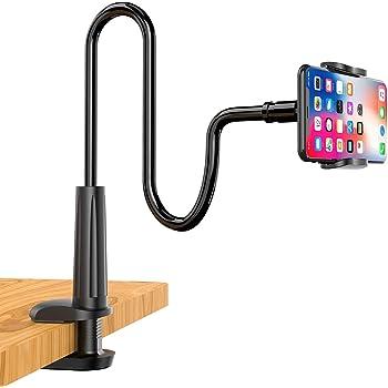 【2020最新版】スマホスタンド スマホアームスタンドベッド寝ながら用 スマホホルダークランプ式 フレキシブルアーム スタンド 360°回転 自由調節 角度調整可能 土台強化 安定性抜群 携帯電話卓上スタンドー 4~6.5インチAndroid/iPhoneに対応 保護パッド付き柔軟性 (日本語説明書付き、ブラック)