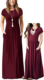 Qin.Orianna Mommy and Me Short Sleeve Loose Plain Family Matching Maxi Dresses with Pockets for Mother's Day