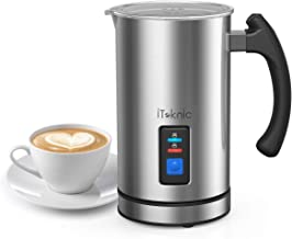 iTeknic Milk Frother, Electric Milk Steamer and Frother Stainless Steel, Automatic Foam Maker For Coffee, Latte, Cappuccino, Milk Foamer Warmer with Strix Temperature Controls
