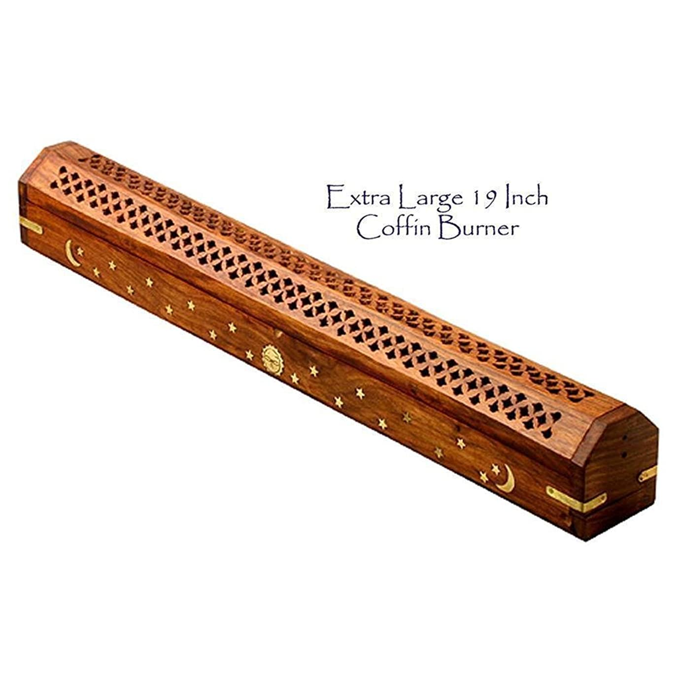 観点十二傾いたThe Parfumerie Incense CoFfIn / Burner Extra Large for 19?in。Incense Sticks?–?真鍮月&星