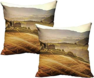 """Acelik Tuscan Soft Microfiber Pillowcase Set Siena Tuscany Retro Farm House Trees Old Path Country Landscape on Sunset Cushion Case for Sofa Bedroom Car 18""""x18"""" 2 Pcs Ginger and Green"""