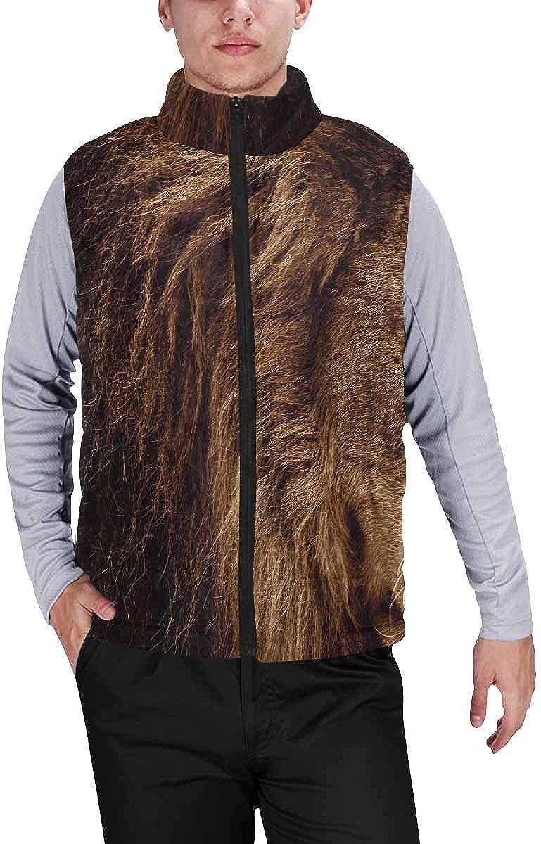 InterestPrint Men's Outdoor Casual Stand Collar Padded Vest Coats Sad Pug Dog Animal Puppy