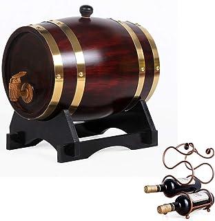 ZGQJT Fût de Vieillissement en Chêne 5L, Distributeur de Vin en Bois avec Casier à Vin Convient au Vinaigre de Spiritueux ...
